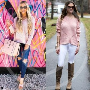 GERRI Criss Cross BAck Pink Sweater